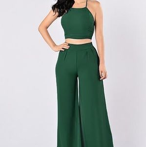 2pc Green Pants Set w/Matching Crop Top
